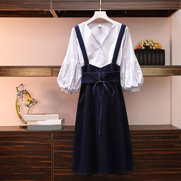 Kari Plus Size V Neck Balloon Sleeve Blouse And Denim Suspender Skirt Set