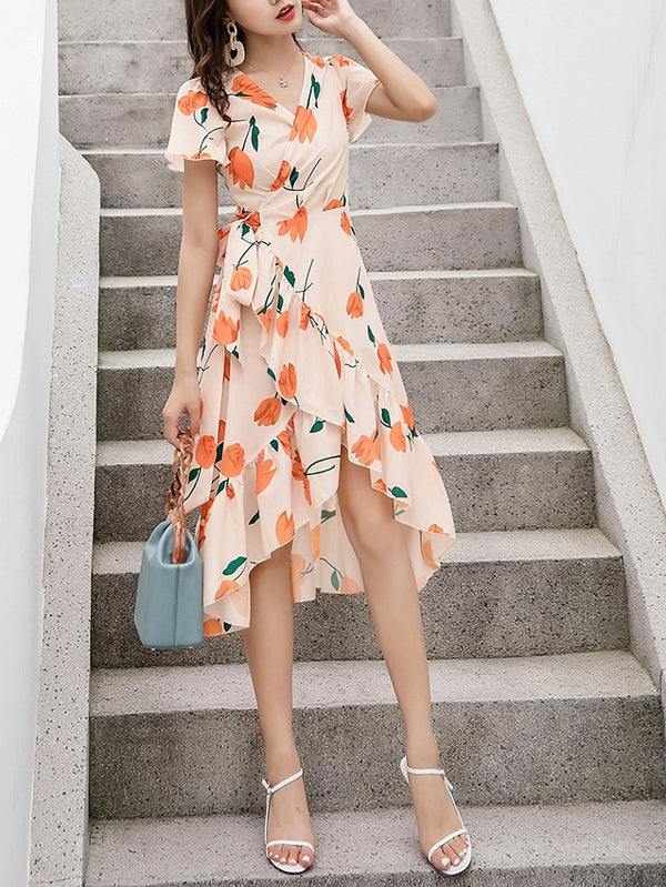 Riho Orange Longer Back S/S Midi Dress