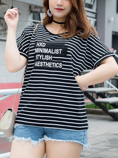 Sine Stripes and Words S/S Tee Shirt Top (EXTRA BIG SIZE)
