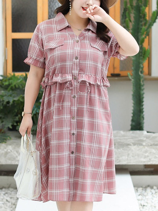 Tasmine Plus Size Checks Print Waist Tie Short Sleeve Midi Shirt Dress (Suitable For Chinese New Year) (Blue, Red, Pink)