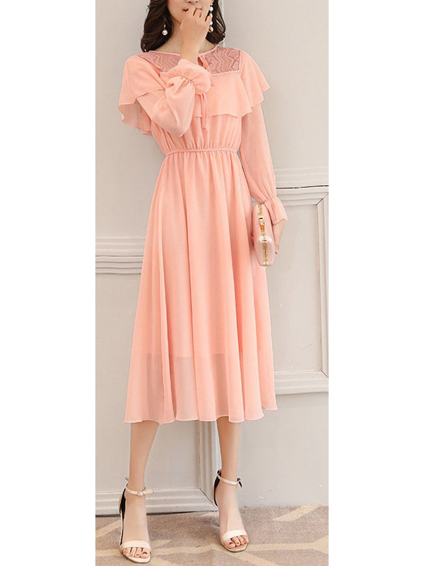 Sutten Plus Size Wedding Occasion Pink Lace Chiffon Frill Long Sleeve Midi Dress