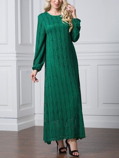 (L-7XL) Giovanna Lace Plus Size Abaya Long Sleeve L/s Maxi Dress