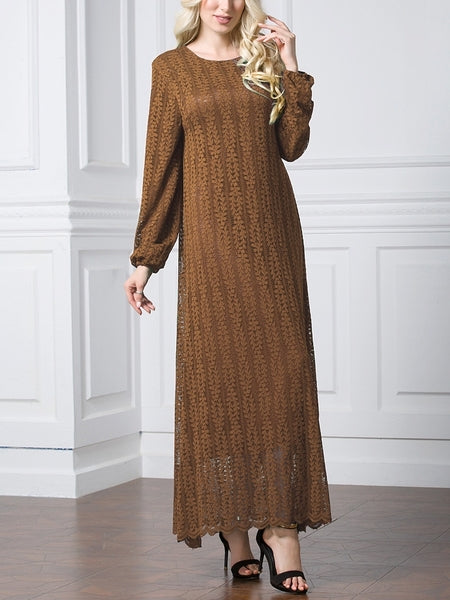 (3 Colour) (L-7XL) Giovanna Lace Plus Size Abaya Long Sleeve L/s Maxi Dress