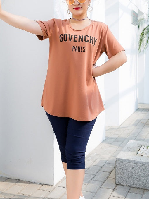 Sinead Orange Govenchy S/S Tee Shirt Top (EXTRA BIG SIZE)