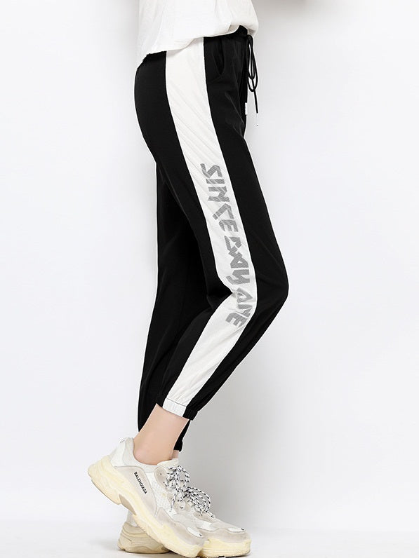 Valencia Plus Size Words Side Sporty Jogger Capri Pants