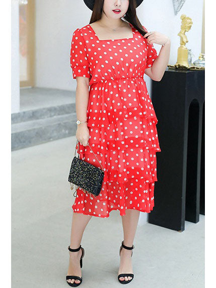 Tasneem Plus Size Polka Dots Square Neck Tier Midi Shirt Dress (Suitable For Chinese New Year)  (Blue, Red)