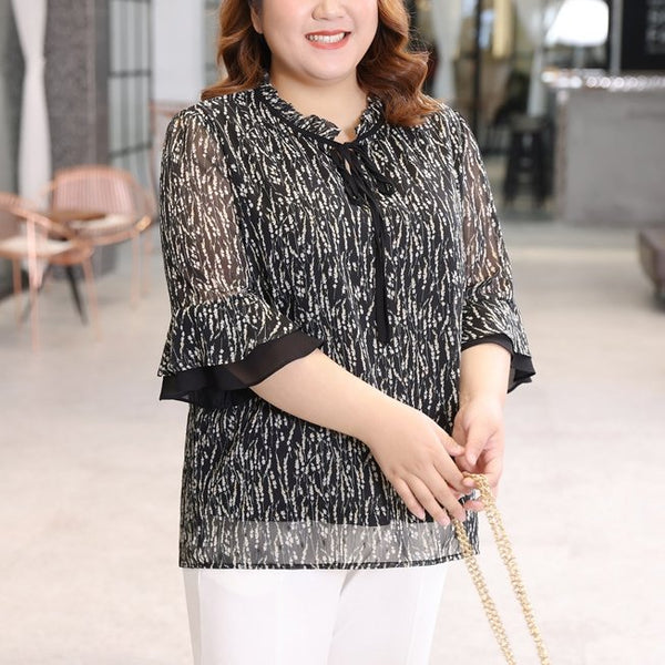 Plus Size Black White Chiffon Mid Sleeve Blouse