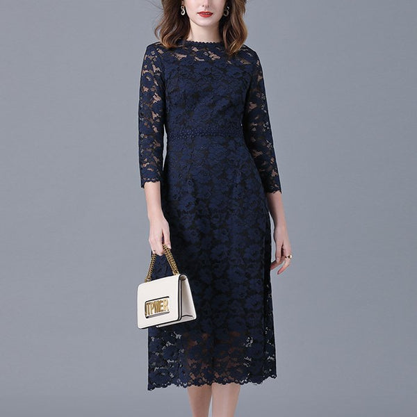 Plus Size Formal Blue Lace Mid Sleeve Midi Dress