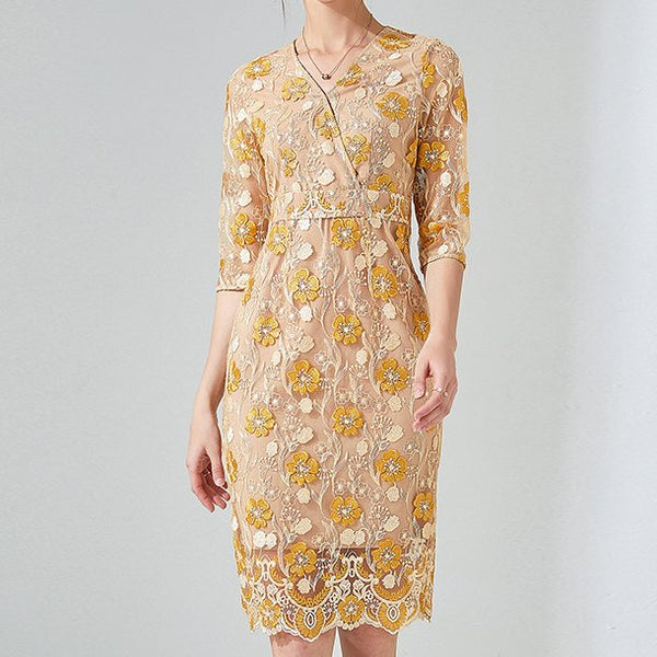 Plus Size Ornate Gold Lace Mid Sleeve Dress