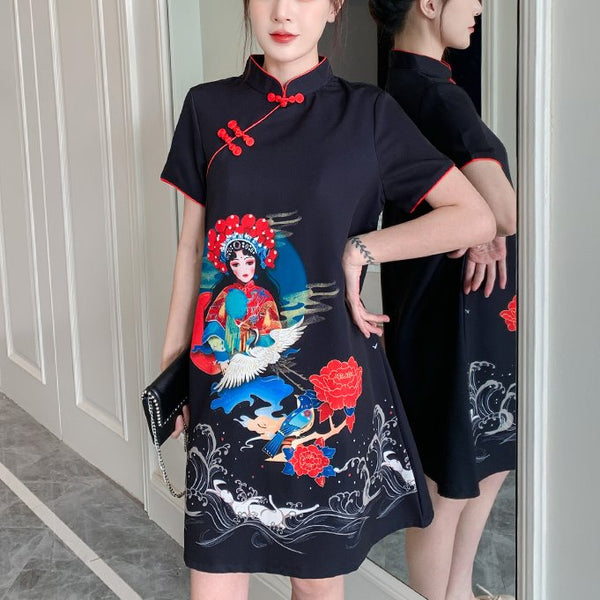 Plus Size Graceful Chinese Opera Cheongsam Short Sleeve Dress