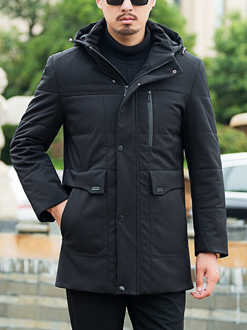 Men's Plus Size Padded Windbreaker Long Length Utility Design Winter Jacket (Black)