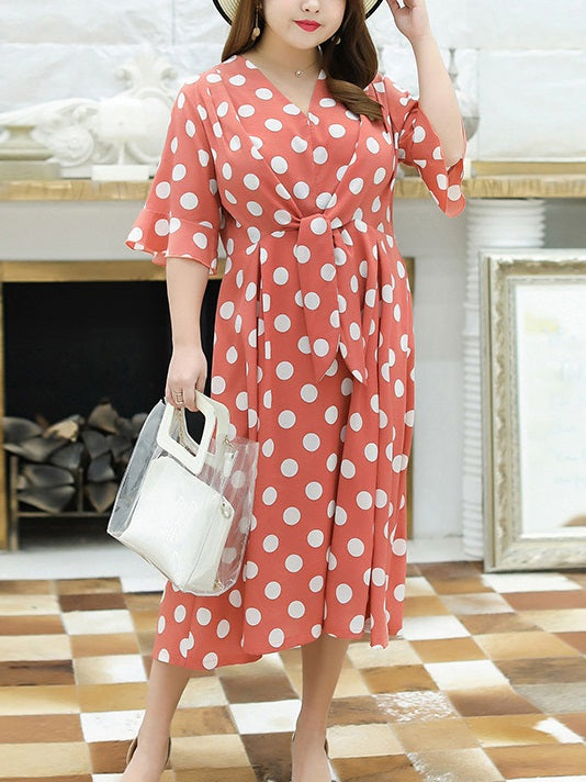 Tasnim Plus Size Polka Dots Square Neck Tier Bell Sleeve Short Sleeve Midi Dress (Suitable For Chinese New Year) (Orange, Black)