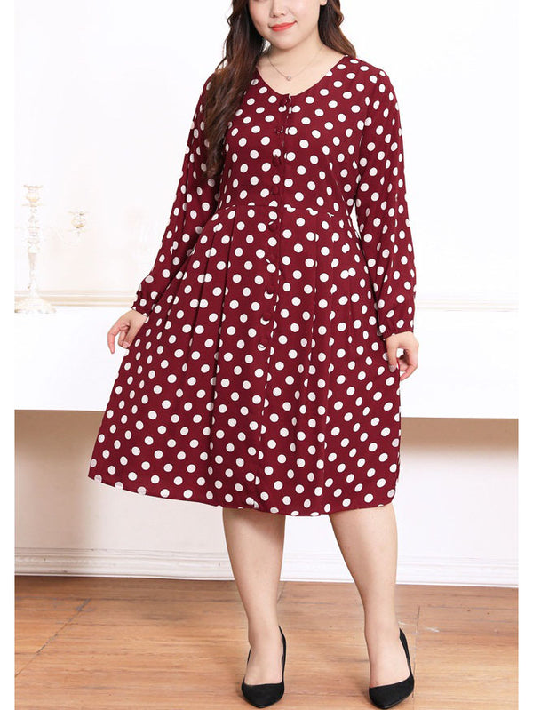 Serita Red V Neck Polka Dots Pleat L/S Midi Dress (EXTRA BIG SIZE)