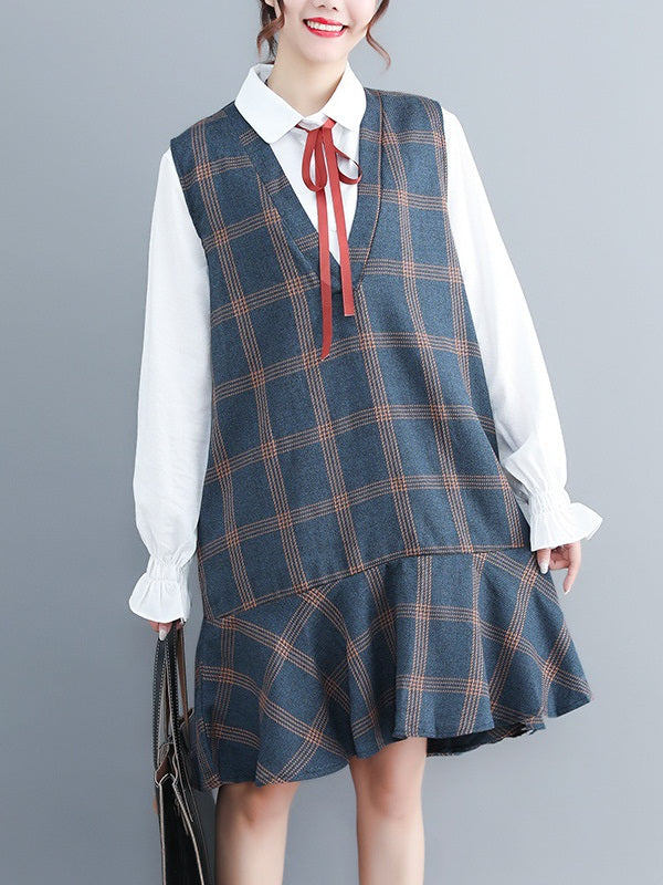2 Piece Set)Rebecka  White Shirt Blouse and Grey Checks Pinafore Dress Set