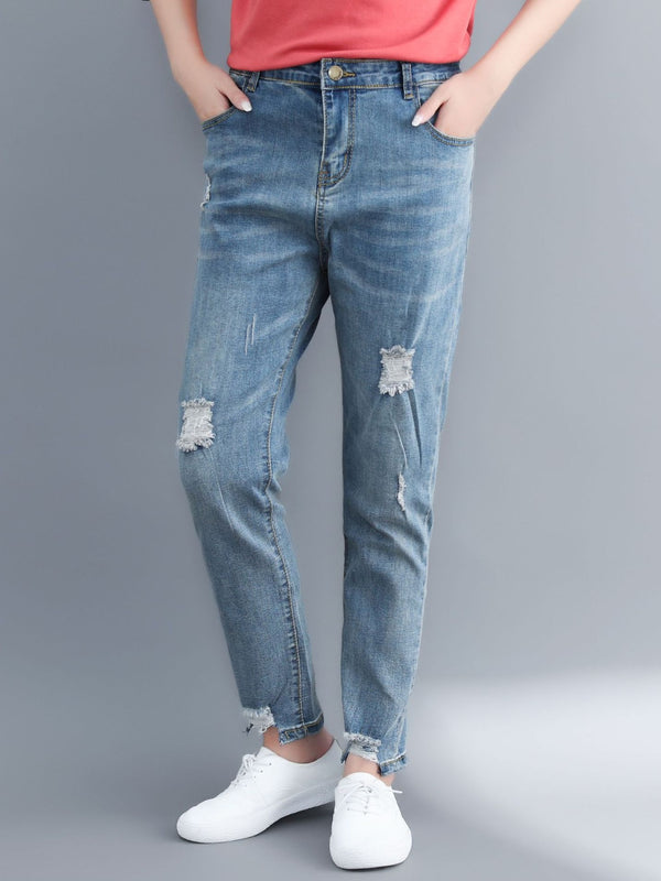 Rozsika Ripped Denim Jeans Pants (EXTRA BIG SIZE)