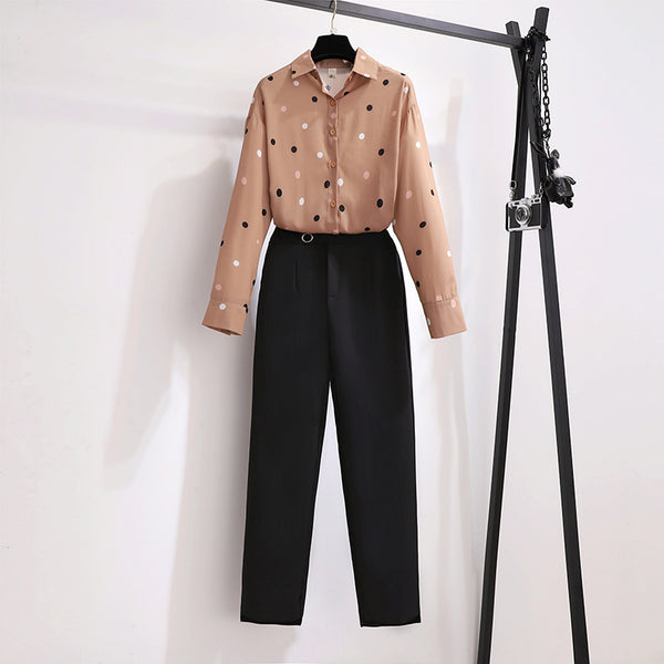 Karidee Plus Size Chiffon Long Sleeve Shirt Blouse And Work Pants Set