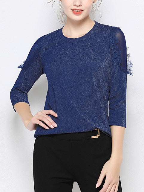 Valentia Plus Size Shimmer Blue Lace Knit Mid Sleeve Blouse