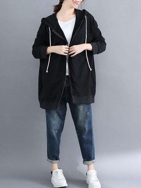 Malika Plus Size Black Zip Up Hoody Autumn Jacket