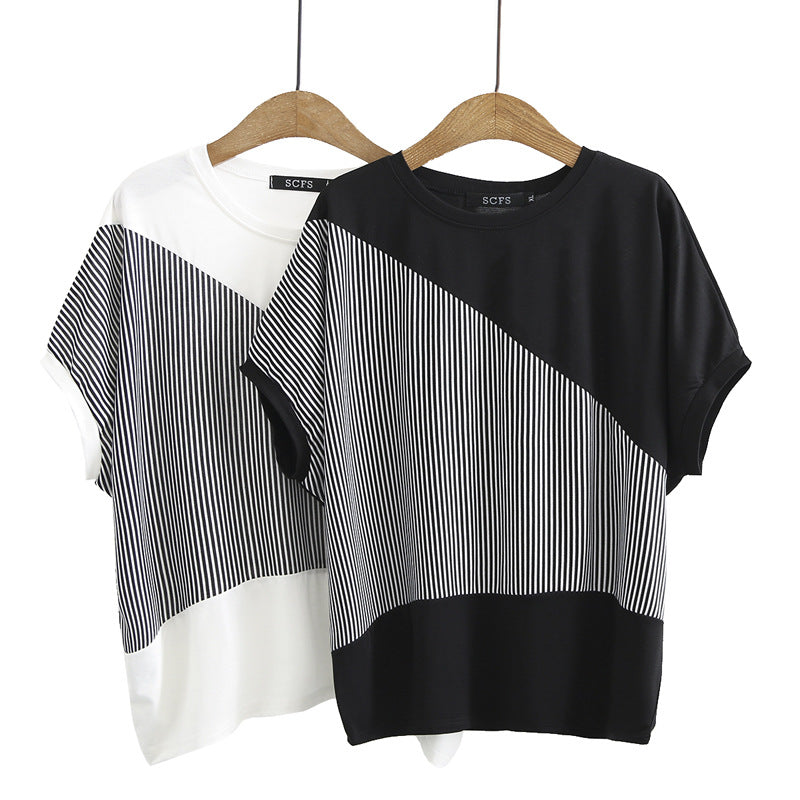 Plus Size Asymmetric Stripe Short Sleeve Top