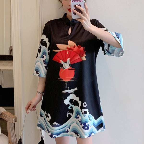 Plus Size Black Japanese Waves Art Mid Sleeve Dress Cheongsam