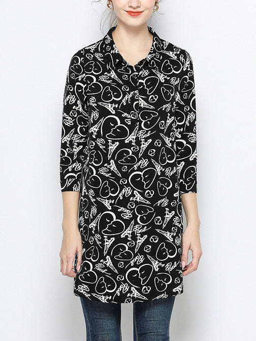 Valentina Plus Size Black Hearts And Eiffel Tower Print Curve Side Tunic Mid Sleeve Shirt Blouse