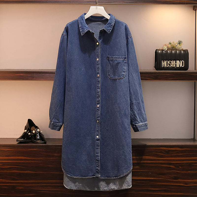 Karie Plus Size Tunic Denim Long Sleeve Shirt Blouse
