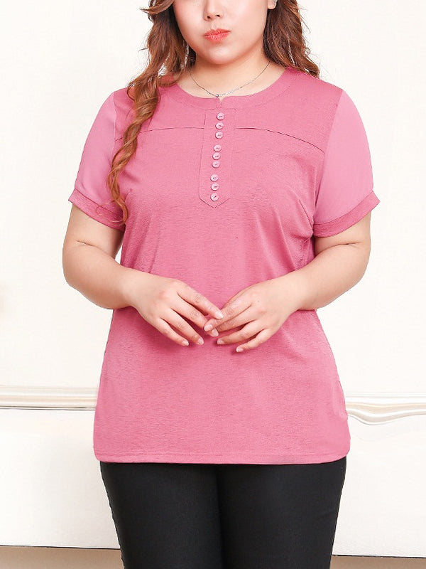 Renelle Pink Button Knit S/S Top (EXTRA BIG SIZE)