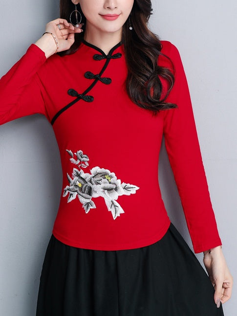 Timea Plus Size Cheongsam Qipao Top - Floral Ethnic Chinese Embroidery Long Sleeve Top (Red, Black, White) (Suitable For Chinese New Year)
