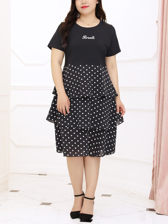 Seriyah Polka Dots Block Peplum S/S Dress (EXTRA BIG SIZE)