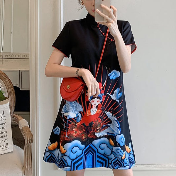 Plus Size Chinese Opera Girl Art Short Sleeve Dress Cheongsam
