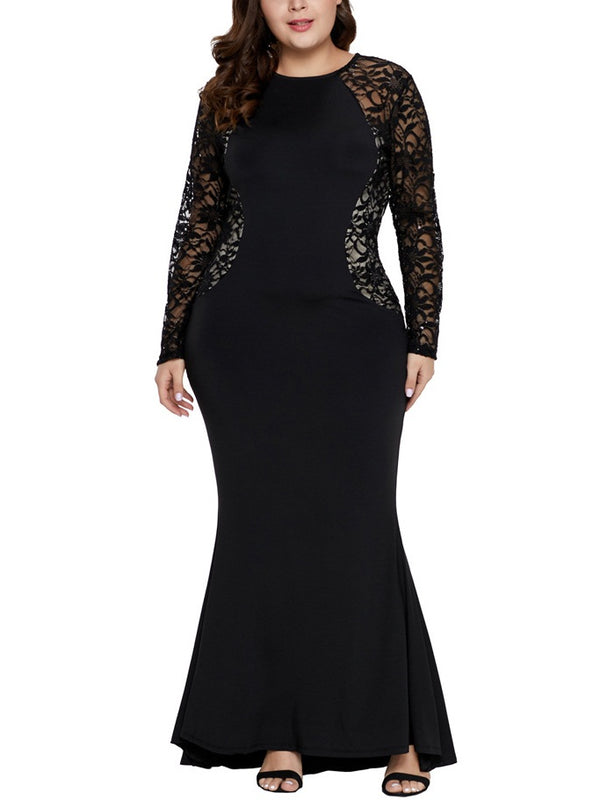 Sophie-Marie Plus Size Dinner Occasion Formal Red Carpet Dress Fishtail Mermaid Sexy Lace Side Panel See Through Lace Sleeves Slimming With Sleeves Long Sleeve Maxi Dress (Black, Red) (EXTRA BIG SIZE)