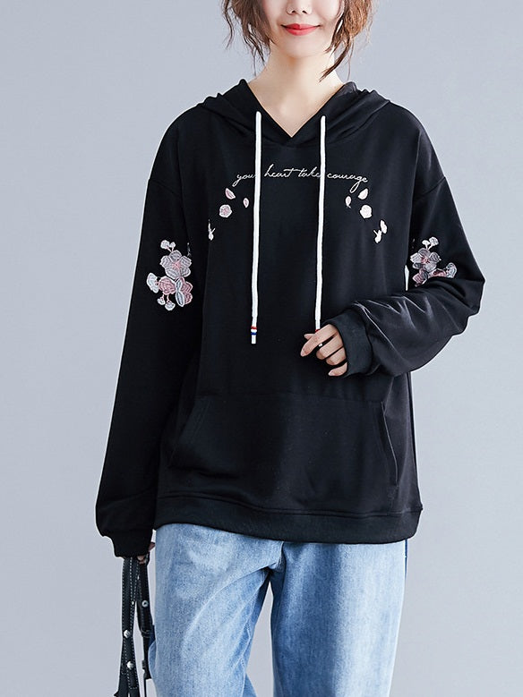 Ruathy Floral Embroidery Hoody L/S Sweater Top (EXTRA BIG SIZE) (Pink, Black)