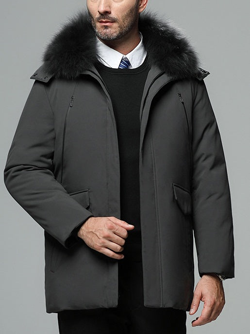 Men's Plus Size Down Padded Fur Collar Formal Work Office Winter Jacket Coat (Black, Khaki, Grey, Dark blue)