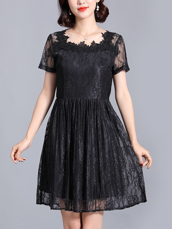 Roisin Square Neck Lace Pleat Swing Plus Size Formal Occasion Bridesmaid Wedding S/S Dress (Pink, Black)