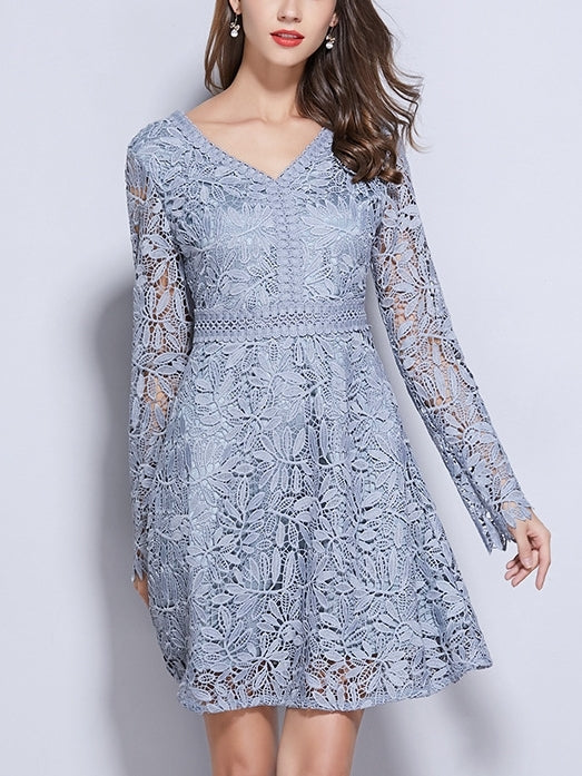 Pastel Blue Crochet Lace Plus Size Formal Occasion Bridesmaid Long Sleeve Dress