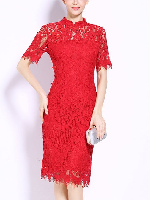 Janis Red Lace Occasion Dress