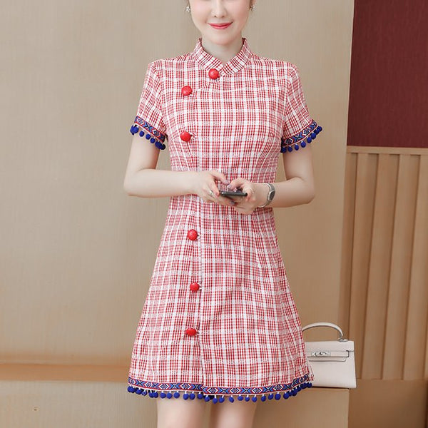 Plus Size Red Ethnic Big Buttons Short Sleeve Dress Cheongsam