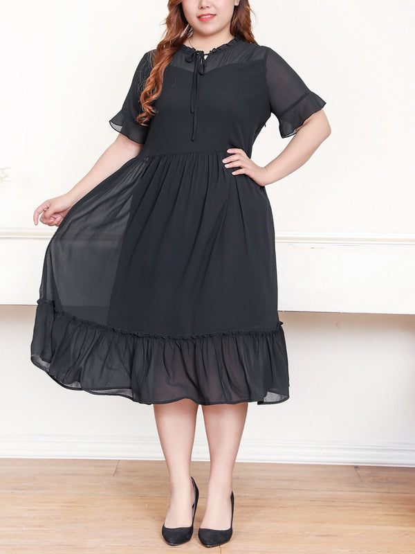 Sertab Black Tier Chiffon S/S Midi Dress (EXTRA BIG SIZE)