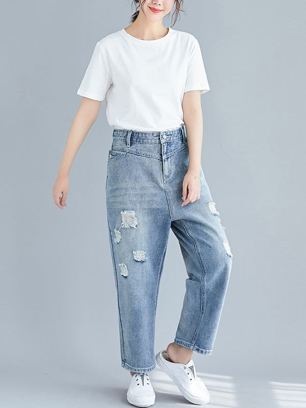 Rubaline Distressed Ripped Denim Jeans Pants (EXTRA BIG SIZE)