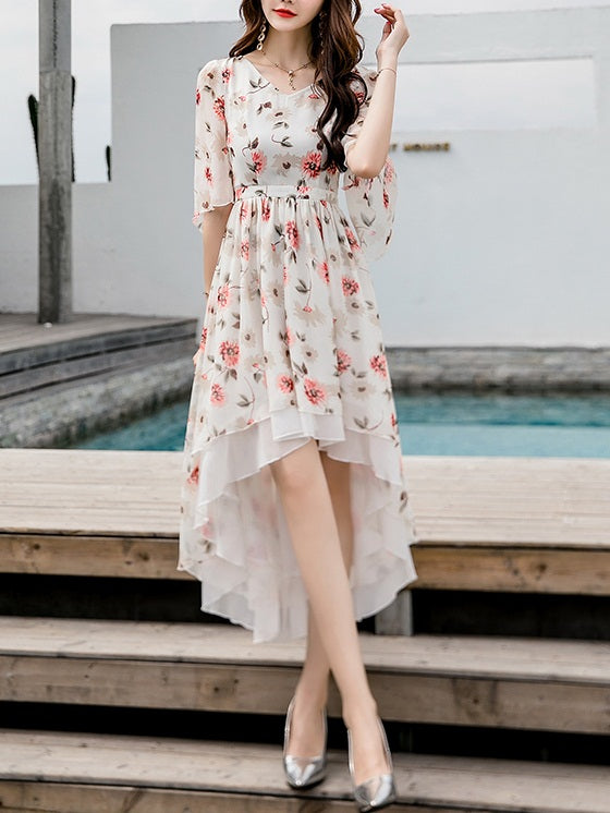 Rikku Floral Longer Back Mid Sleeve S/S Midi Dress