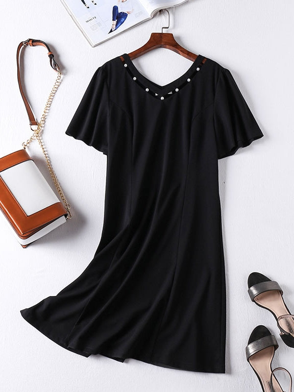 Pearls V Neck Black S/S Dress