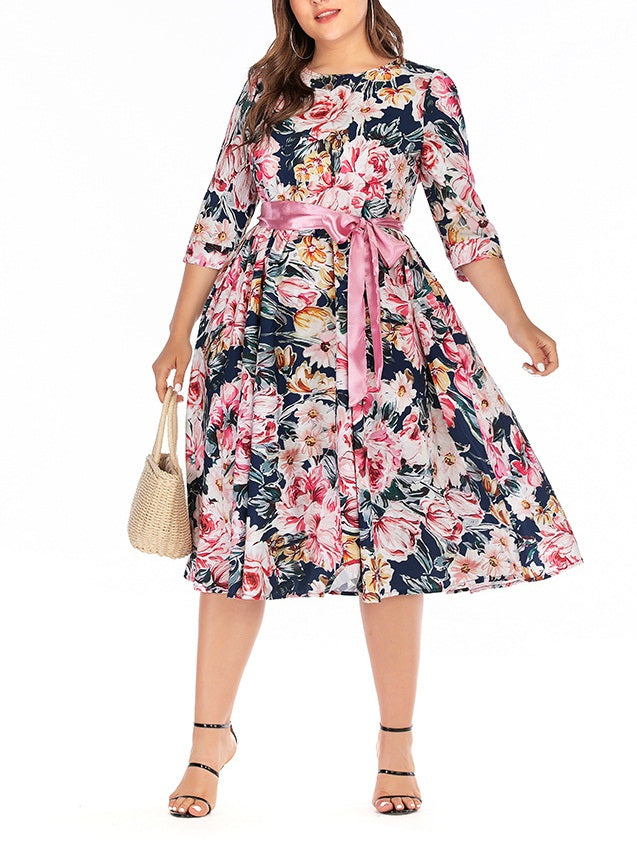 Wietske Plus Size Pink Floral Print Vintage Sash Waist Tie Swing Mid Sleeve Midi Dress (Suitable For Muslim, Muslimah Wear) (EXTRA BIG SIZE) (Pink Waist Tie, Beige Waist Tie)