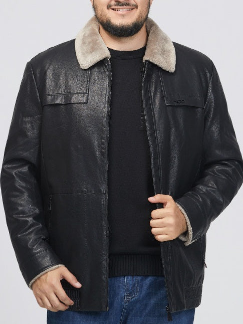Men's Plus Size PU Leather Fur Collar Down Filling Inner Winter Jacket (Black, Brown)