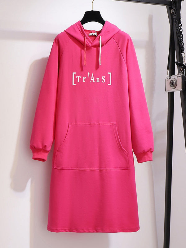 Xavianna Plus Size Embroidery Words Sweater Hoody Long Sleeve Dress (EXTRA BIG SIZE) (Pink, Black)
