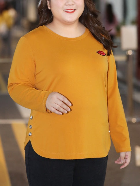 Silver Lips Yellow Button Side Curve Knit L/S Top (EXTRA BIG SIZE)