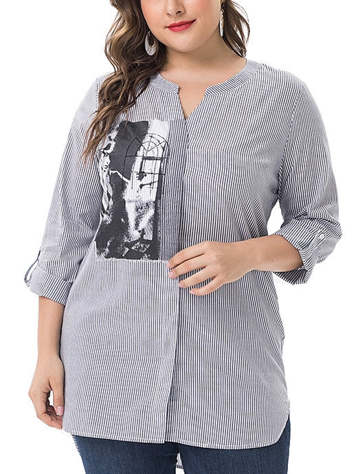 Vera Graphic Stripe Mid Sleeve Shirt Blouse (EXTRA BIG SIZE)