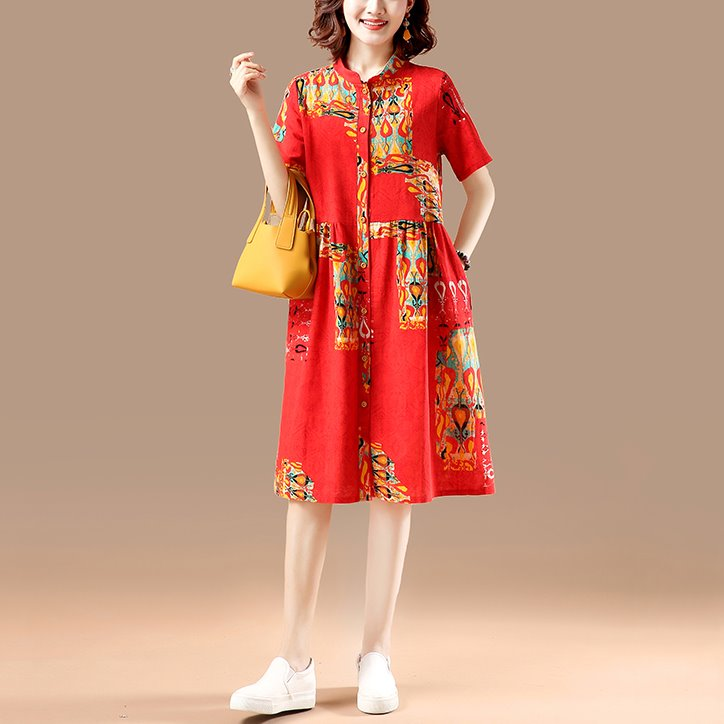 Plus Size Ethnic Mandarin Collar Pocket Short Sleeve Dress