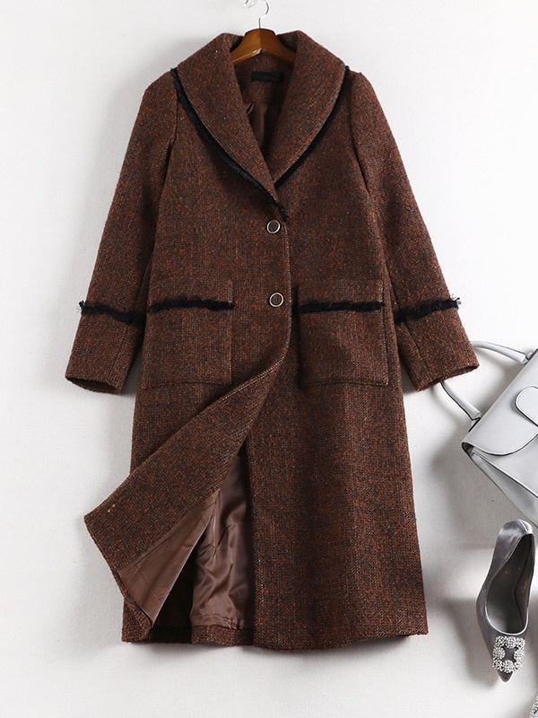 Síle Brown Woolen Autumn Winter Long Dress Coat Jacket