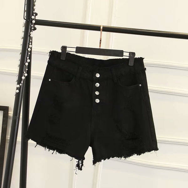 Zaneeta Plus Size Black Distressed Buttons Denim Shorts