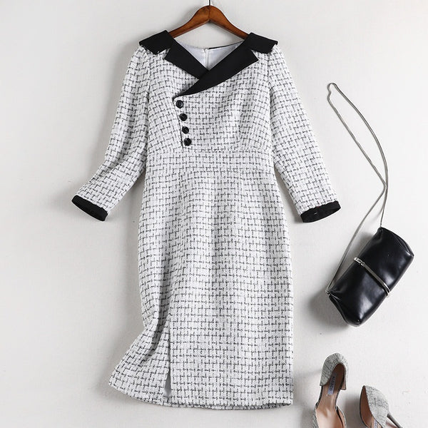 Sugey Plus Size White Tweed Long Sleeve Dress